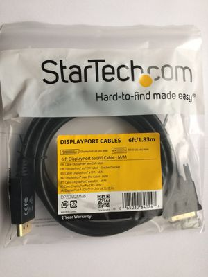 New StarTech Displayport to dvi cable,display port DP to DVI converter 6ft -M/M for Sale in Monterey Park, CA
