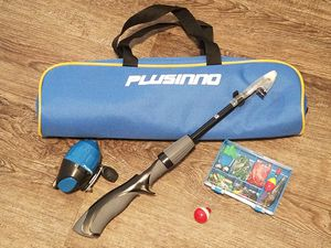 PLUSINNO Telescopic Kids Fishing Pole & Travel Bag Portable Junior Rod Reel Gear Tackle New for Sale in Tampa, FL