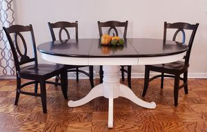 Dining table, newly refinished well loved older Crate & Barrel set. Pedestal table w/leaf & 4 chairs for Sale in Arlington Heights, IL