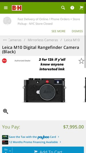 Leica M10 Digital Rangefinder Camera for Sale in Brooklyn, NY