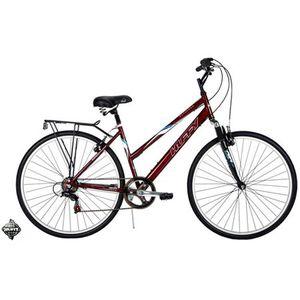 Huffy Savannah Road Bike, 18 speed, Comfort grips, 26 inch skinny tires, for traveling, Hand brakes, Beautiful Burgundy Frame, Comfy seat, Metal Rack for Sale in North Las Vegas, NV