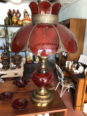 Vintage Antique Ruby Red Glass Table Lamp W/ With Brass And Wrought Iron . for Sale in Punta Gorda, FL