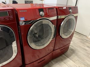 Samsung red frontload washer dryer set electric for Sale in Phoenix, AZ