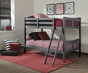 STORKCRAFT CARIBOU SOLID HARDWOOD TWIN OVER TWIN WOOD BUNK BED -Grey BRAND NEW IN THE BOX for Sale in Phoenix, AZ