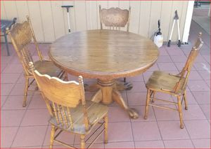 Solid Wood Dining Table with Extra Leaf and 4 Chairs, Good Condition, Price Firm for Sale in Westminster, CA