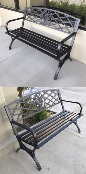 "Brand new in box 50"" Long Patio Black Decent Garden Bench Steel Outdoor Chair 500 lbs Capacity for Sale in Whittier, CA"