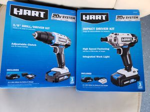 Hart drill / impact tools with 2 batteries and 2 fast chargers for Sale in Oceanside, CA