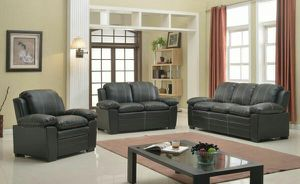 3pc black overstuffed leather sofa set for Sale in Marietta, GA