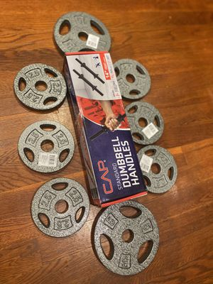 Dumbell handle + weights for Sale in Springfield, VA
