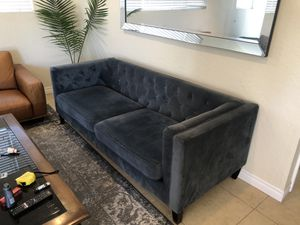 Blue suede tufted couch for Sale in Huntington Beach, CA