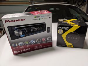Pioneer Single DIN DEH-S4010BT Stereo and Kicker DSC4 Speakers for Sale in Huntersville, NC