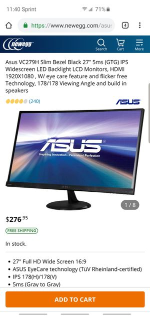 Asus vc279 ips monitor (27 inch) for Sale in Bossier City, LA