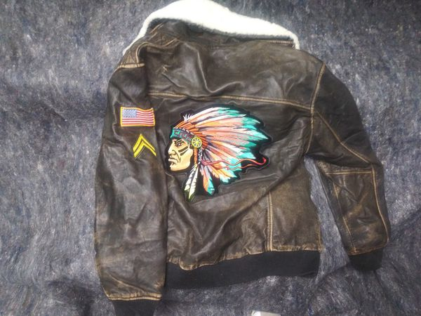 Wilsons Leather Bomber Jacket 2x Customised by Studio ForEver arts rare 1 of 1 jacket