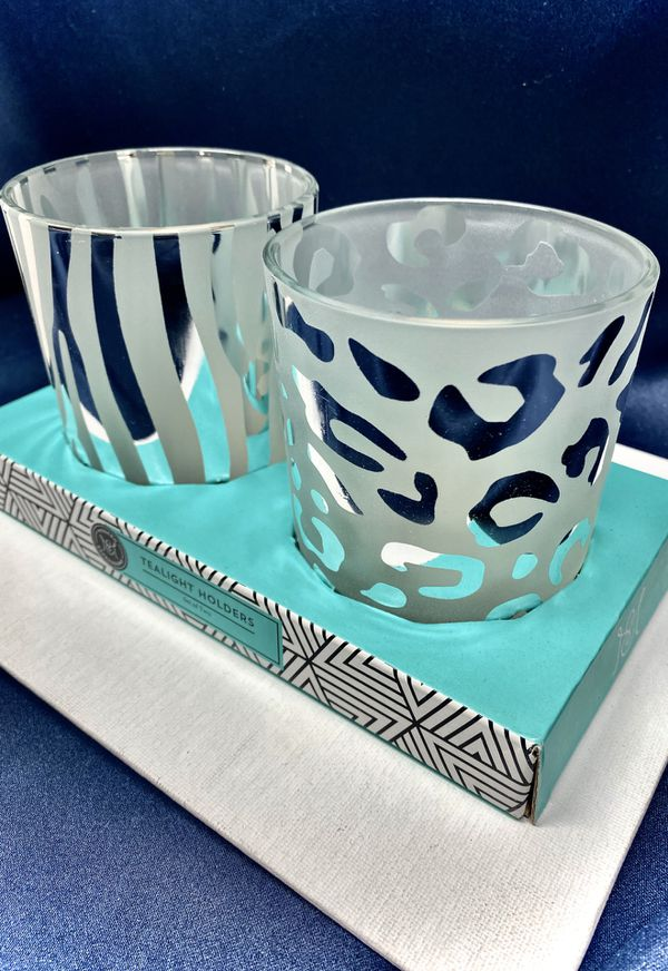 Set of 2 x Tea light Holders by Modern Expressions Animal Print Silver - NEW IN BOX