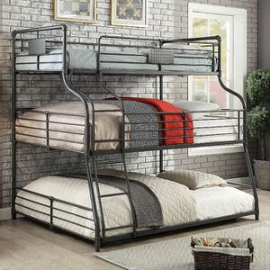 INDUSTRIAL TRIPLE DECKER TWIN FULL OVER QUEEN SIZE BUNK BED / CAMAS MATRIMONIAL SENCILLA CAMAS for Sale in Downey, CA