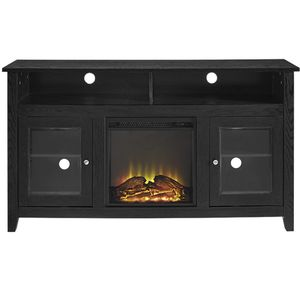 """Wasatch W58FP18HBBL 58"""" Wood Highboy Media TV Stand Console with Two Open Storage Shelves and Electric Fireplace in Black for Sale in Lemont, IL"""