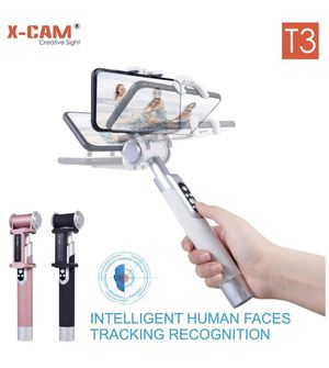X-CAM T3 Selfie Stick with Face Tracking for iPhone X/8/8P/7/7P/6s/6P/5S, Galaxy S5/S6/S7/S8, Google, Huawei,Xiaomi and More (White) for Sale in Boulder, CO