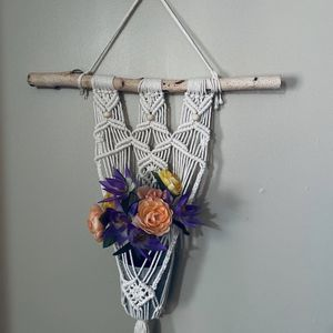 Handmade Bohemian Chic Macrame Plant Hanger with Birch Branch & Organic Cotton for Sale in Wichita, KS