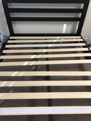 Metal Bed Frame with Wooden Slat Support, Queen for Sale in Santa Clara, CA