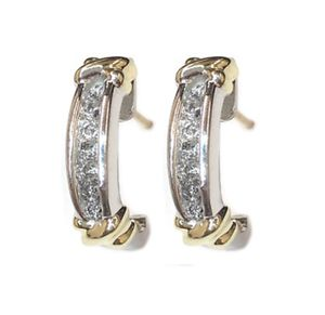 Chanel Set Diamond Earrings Set in White & Yellow Gold for Sale in Buena Park, CA