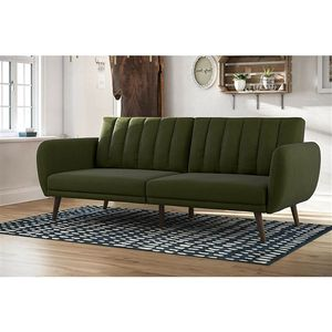 Green Linen Upholstered Futon Sofa Bed with Mid-Century Style Wooden Legs.FF-4355566FS. for Sale in San Francisco, CA
