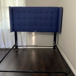 Navy Blue Lined Tufted Headboard With Frame for Sale in Long Beach,  CA
