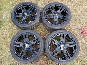 "20 INCH WHEELS RIMS TIRES MATTE BLACK FINISH (20x9""/5x120mm) Set of 4 CUSTOM CENTER CAPS for Sale in Berlin, NJ"