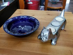 Cat saucer and cat pewter voter candle holder for Sale in Bon Air, VA