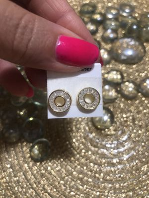 Round earrings cubic zirconia Baguette diamond 925 yellow gold over for Sale in Miami Beach, FL