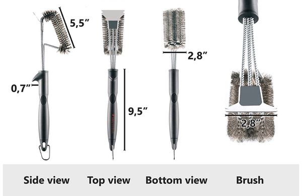 """SAFETY Grill Brush - Grill Brush & BBQ Cleaning Scraper. 100% Safe Wire Bristles Grill Cleaner. Best 18"""" Barbecue Grill Brush for All Grills"""