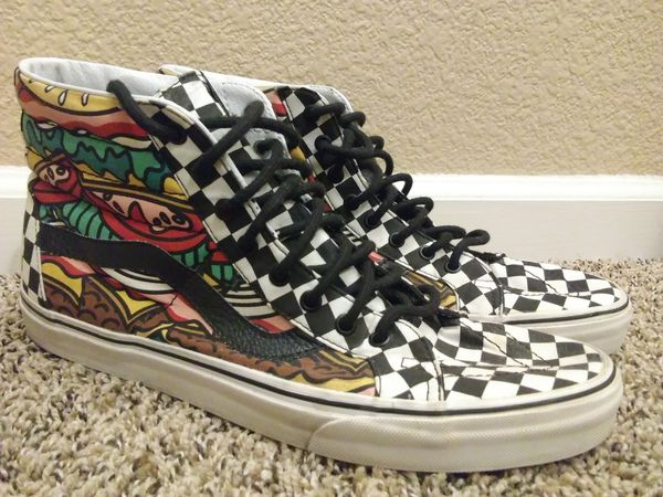 Men's Size 12 Vans Re Issue Late Night Burger Checkerboard Shoes