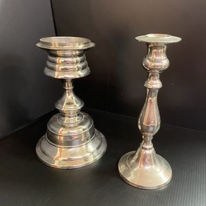 (2) Chrome Candle Holders - Metal for Sale in San Jose, CA