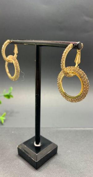Full Crystal Circle Earrings for Women Luxury Round Shiny, Gold Color for Sale in Los Angeles, CA