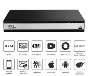 ZOSI 16CH Full 1080P High Definition Hybrid 4-in-1 HD TVI DVR Motion Detection Surveillance Security Camera System for Sale in Clearwater, FL