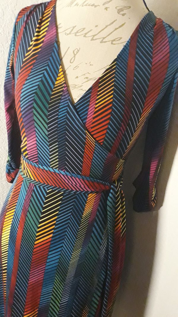 Multicolored Tight Tie Up Long Sleeve Knee Dress Sz XSmall