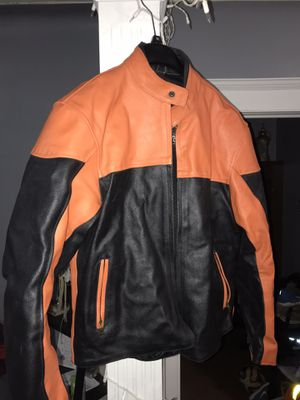Motorcycle Jacket black and orange for Sale in Bayonne, NJ