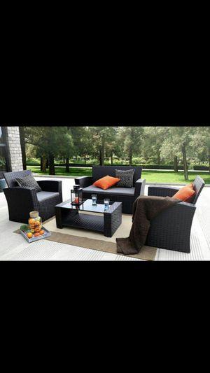Black 4 pieces outdoor patio furniture patio set pieces outdoor patio furniture patio set for Sale in Moreno Valley, CA