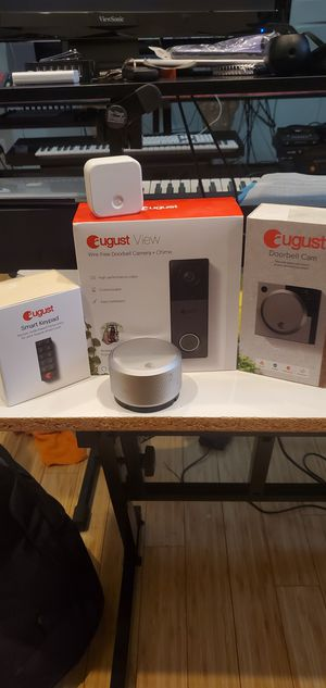 August Smart Door Lock, Key pad, Doorbell cam, and Wire-free Doorbell cam + Chime and wifi hub for Sale in Marvin, NC