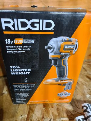 Ridgid Impact Wrench 18V Sub Compact Lithium Ion Cordless Brushless Belt Clip Tool Only for Sale in Snohomish, WA