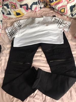 80$ for outfit Burberry shirt L all black skinny's size 34 for Sale in Washington, DC