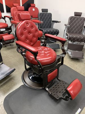 BarberPub Vintage Barber Chair Heavy Duty Metal Frame All Purpose Hydraulic Recline Salon Beauty Spa Equipment 2947 Red for Sale in Commerce, CA
