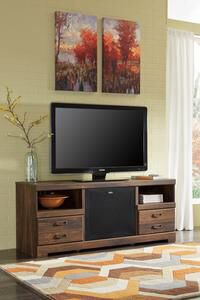 Quinden Dark Brown LG TV Stand with Large Integrated Audio Insert | W246-68 for Sale in Austin, TX