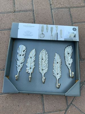 New silver feather hooks set of 5 for Sale in Irvine, CA