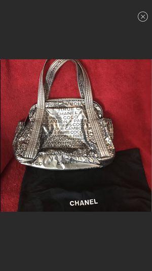 CHANEL nylon coco rue cambon silver bag for Sale in Las Vegas, NV