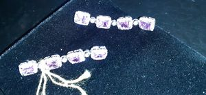 Rare unheated pink sapphire diamond earrings for Sale in Las Vegas, NV