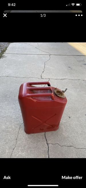 Vintage Distressed Red Military Style Metal Jerry Gas Can Jeep for Sale in Brighton, CO