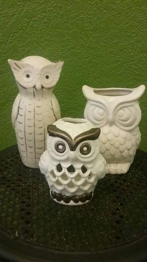 3-pcs OWL figurine ,flower vase & tea light holder MUST PICK UP⬇⬇⬇281 North & 1604 MORE INFOS BELOW⬇⬇⬇ for Sale in San Antonio, TX