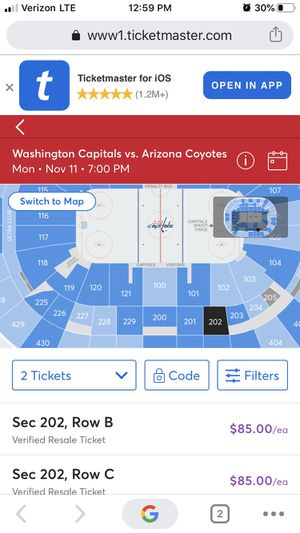 Washington Capitals Vs Arizona Coyotes Tickets for Sale in MONTGOMRY VLG, MD