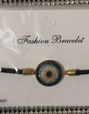 Stylish Round Gold-Plated Evil Eye Zirkon Pendant for Sale in New York, NY