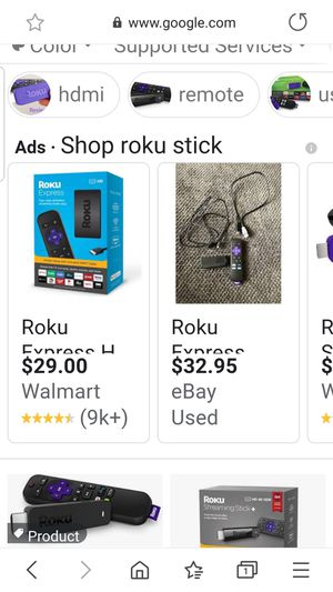 Roku stick remote and cords for Sale in Lilburn, GA